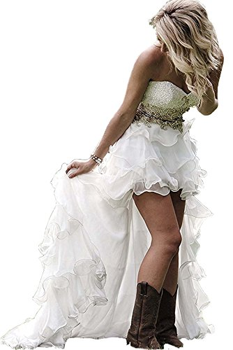 Women's High Low Country Style Wedding Dress Ruffled Beach Bridal Gown