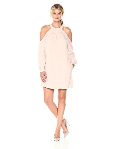 BCBGMax Azria Women's Josephine Cold Shoulder Halter Woven Dress, Bare Pink, XS