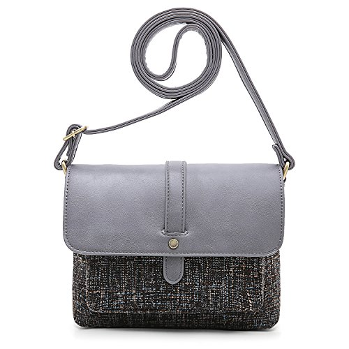 ECOSUSI Women Shoulder Crossbody Bag Flap-over Vintage Handbag Purse with Back Pocket, Grey