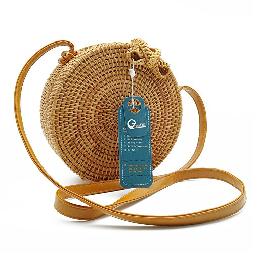 Rattan Bag, GraceFINE Round Hand Woven Ata Rattan Crossbody Bags, Rattan Purse for Women