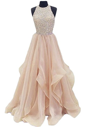 TBGirl Gorgeous Beaded Prom Dresses KeyHole Chiffon Sweet 16 Party Gown