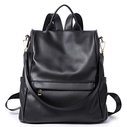 Womens Backpacks Purse Fashion PU Leather Anti-theft Large Travel Bag Ladies Shoulder School Bags black