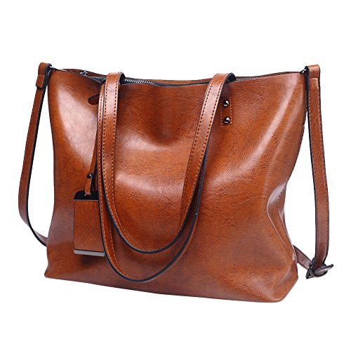 Womens Leather Tote Handbags Top Handle Satchel Vintage Hobo Shoulder Bag Purses Coffee