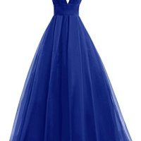 Bess Bridal Women's Tulle Deep V Neck Prom Dress Formal Evening Gowns Royal Blue