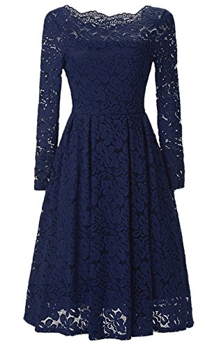 315c57914540 chouyatou Women's Retro Boatneck Lace Floral Fit-Flare Pleated Knee Length Cocktail  Dress (X-Small, Blue)   Pretty Outfits