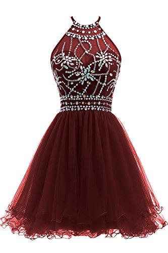 Ellames Women's Beaded Halter Homecoming Dress Short Tulle Prom Dress Burgundy US 14