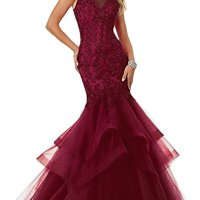 Ellenhouse Women's Applique Tulle Long Mermaid Prom Party Evening Dresses EL189