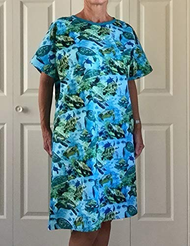 Sea Turtle Adult Hospital Gown. FREE SHIPPING on any order. S/M, L/XL, and 1X. Custom color or fabric prints accepted.
