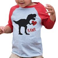7 ate 9 Apparel Kids Dinosaur Happy Valentine's Day 3T Red Raglan