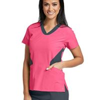 Barco One 5118 Contrast V-Neck Top Coral Reef/Granite 2XL