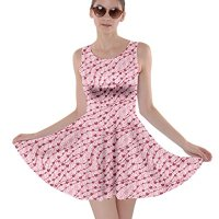 CowCow Pink Cute Pink Valentine Day Pattern Cute Hearts Skater Dress