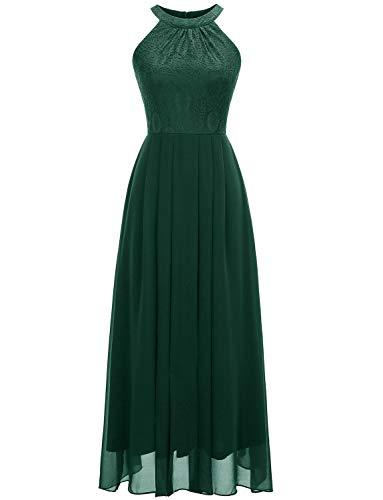 Dressystar 0040 Halter Bridesmaid Dress Prom Dress Formal Wedding Party Gown M Green
