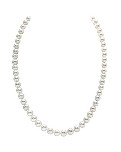 THE PEARL SOURCE 7-8mm AAA Quality Round White Freshwater Cultured Pearl Necklace for Women in 18″ Princess Length