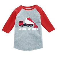 Valentines Day Dump Truck Loads of Love 3/4 Sleeve Baseball Jersey Toddler Shirt 4T Red
