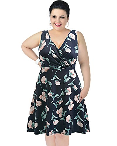 Pinup Fashion V Neck Sleeveless Summer Flare Floral Casual Plus Size Dress for Women Navy Blue XL(US 18W-20W)