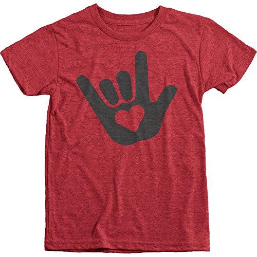 Trunk Candy ASL I Love You Sign Language Boy's Tri-Blend Crew Neck T-Shirt (Vintage Red, L(10/12))