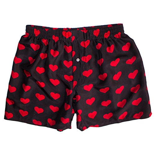 Silk Heart Boxers by ROYAL SILK – Valentine's Day – Red on Black – Men's XL