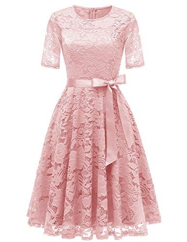 DRESSTELLS Short Bridesmaid Scoop Floral Lace Dress Cocktail Formal Party Dress Blush 2XL