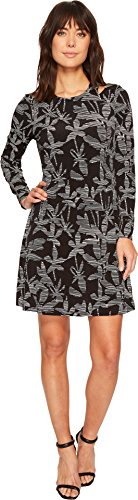 Ivanka Trump Women's Matte Jersey Printed Slit Long Sleeve Above The Knee Dress, Black/Ivory, L