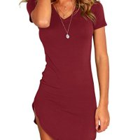 Karlywindow Women's Bodycon Dress Sexy Tight Irregular Hem Short Sleeve Mini T Shirt Dress Wine Red