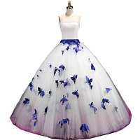 Kivary A Line White and Royal Blue Butterfly Strapless Pearls Long Prom Gowns Wedding Dresses US 14