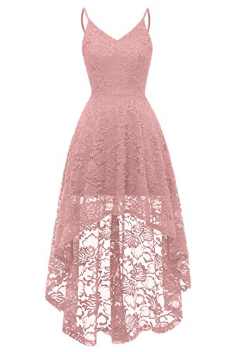 MILANO BRIDE Women's Wedding Dress Casual Hi-Lo Spaghetti Bridesmaids Cocktail Formal Party Dress-L-Blush