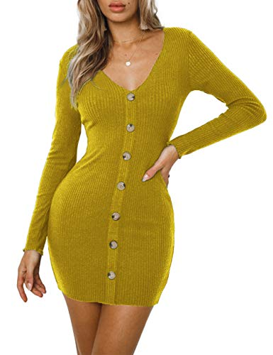 Navvour Women's Sexy V Neck Knit Dresses Long Sleeve Button Bodycon Pencil Club Mini Dress