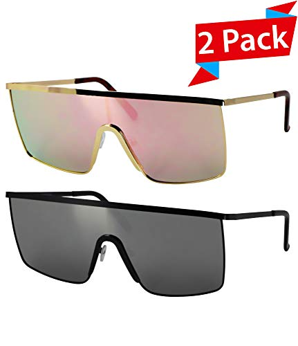 Oversized Flat Top Square VINTAGE RETRO SHIELD VISOR Style Aviator SUNGLASSES (2 PACK: Pink and Silver)