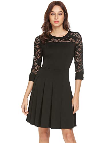 Showyoo Women's Vintage Floral Lace 3/4 Sleeve A-Line Cocktail Party Swing Dress (Large, Black)