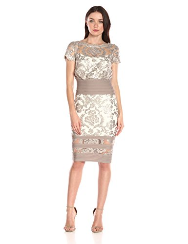 Tadashi Shoji Women's Short Sleeve Sequin Embroidered Blouson Dress, Sand/Ivory, 4
