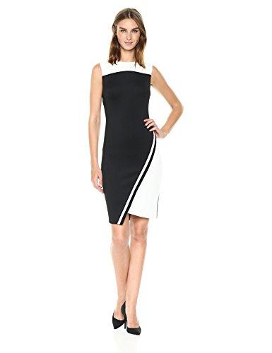 Tommy Hilfiger Women's Assymetrical Heavy Weight Scuba Dress, Black/Ivory, 4