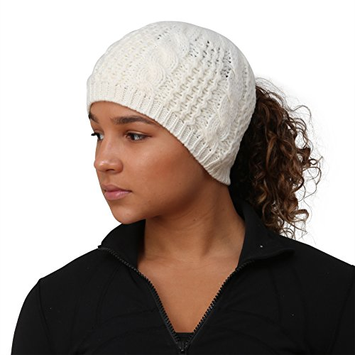 TrailHeads Ponytail Hat | Cable Knit Winter Beanie for Women – Wintry White