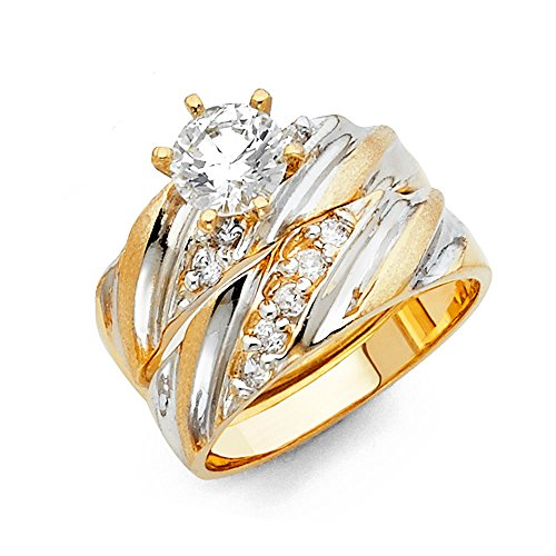Wellingsale Ladies Solid 14k Two 2 Tone White and Yellow Gold Polished CZ Cubic Zirconia Round Cut Engagement Ring with Side Stones and Wedding Band, 2 Piece Matching Bridal Set – Size 7