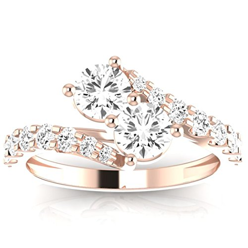 1 1/2 Carat t.w. Twisting Pave Set 2rue Love 2 Stone Collection Round 14K Rose Gold Diamond Engagement Ring (J Color, I2 ClarityCenter Stones)