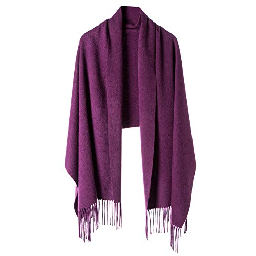 Cashmere Wrap Shawl for Women | Authentic 100% Pure Cashmere Extra Large (75inx25.6in) Scarf, Purple