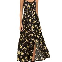 Honeyuppy Women's Floral Print Button Down Sleeveless Spaghetti Strap Summer Maxi Dress (S, Floral 1)
