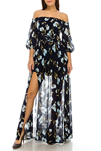 StyleEvery1 Women Sexy 3/4 Sleeve Off Shoulder Floral Printed High Split Casual Party Maxi Dress (Small, Navy Print)