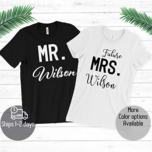Custom Couple Mr Mrs With Your Name T-shirt – Anniversary/Birthday / Wife Gift
