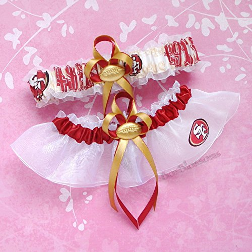 Customizable – San Francisco 49ers OOP rare fabric handmade into garters on white organza bridal prom wedding garter set with football charm – scarlet red band