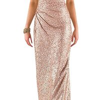 Ever Girl Women's Sweetheart Sequins Long Bridesmaid Dresses Prom Dresses Wedding Party Gown Rose Gold US10