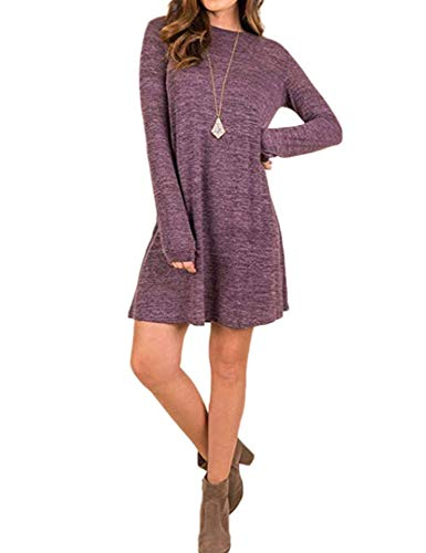 FASHIONMIA Women's Tunic Dress Sweater Long Sleeve Plain Casual Shirts Top Wine Red