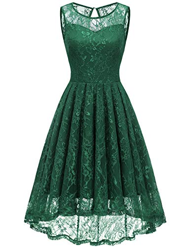 Gardenwed Women's Vintage Lace High Low Bridesmaid Dress Sleeveless Cocktail Party Swing Dress Forest Green M