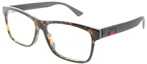 Gucci GG 0176O 002 Havana Plastic Rectangle Eyeglasses 56mm