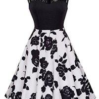 HOMEYEE Women's Vintage Chic Sleeveless Cocktail Party Dress A008 (XXL, Black + White)