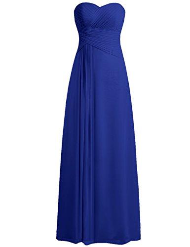 3d1376379a3 JAEDEN Bridesmaid Dress Prom Dresses Long Sweetheart Chiffon Evening Gown  Pleat Strapless Royal Blue L