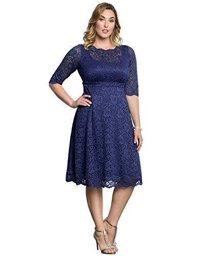 Kiyonna Women's Plus Size Lacey Cocktail Dress Mauve Blush