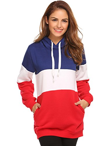 Misakia Women Warm Hooded Contrast Color Patchwork Fleece Lined Pullover Hoodie Sweatshirt