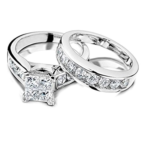 Princess Cut Diamond Engagement Ring and Wedding Band Set 1/2 Carat (ctw) in 10K White Gold (white-gold, 8)