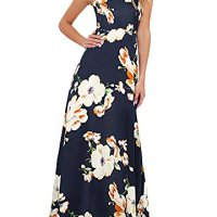 Romacci Women's Sleeveless Halter Neck Maxi Dress Vintage Floral Print Backless Beach Long Dresses S-5XL,Blue/Black (XXL, Dark Blue)