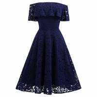 Samtree Women's Off Shoulder Cocktail Wedding Party Formal Floral Lace Bridesmaid Dress(S,Navy Blue)